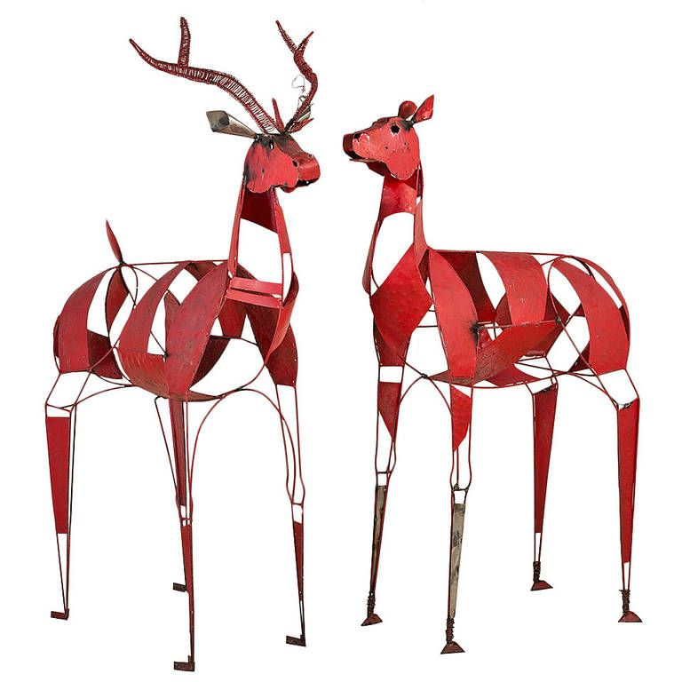 Pair of Iron Reindeer Floor Standing Sculptures, 1960-1970 | From a unique collection of antique and modern animal sculptures at https://www.1stdibs.com/furniture/more-furniture-collectibles/animal-sculptures/