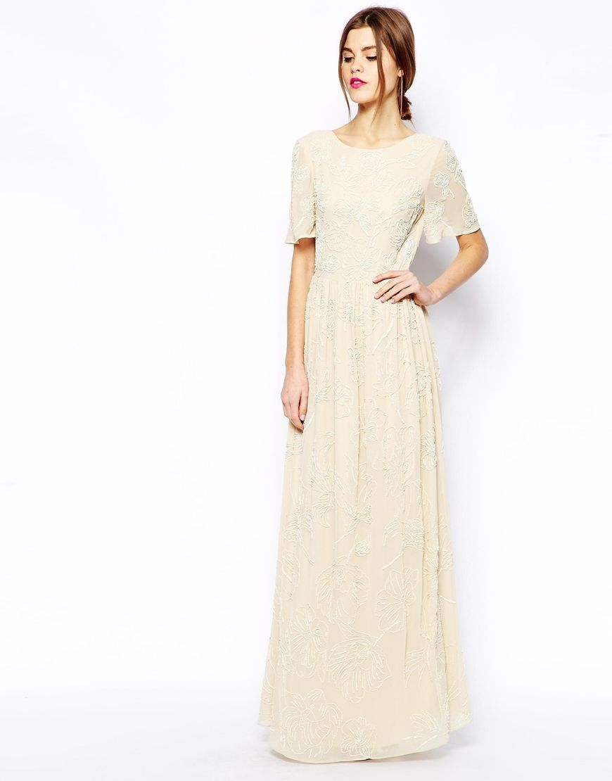 Premium maxi dress with all over floral embellishment wedding