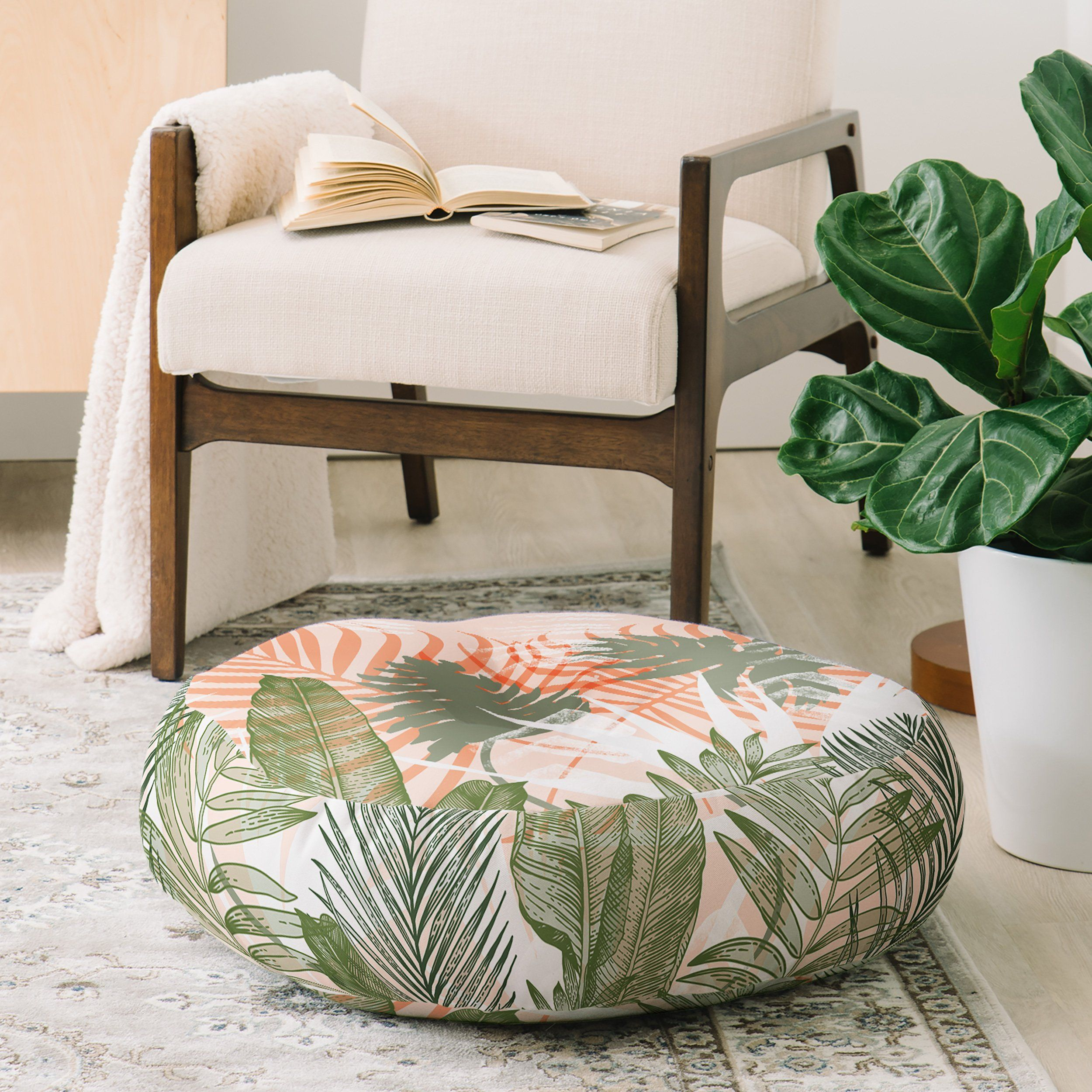 Abstract Tropical Plants Pastel Floor Pillow Round Marta Barragan Camarasa