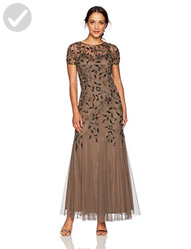 2bfa36b6da228 Adrianna Papell Women's Petite Floral Beaded Godet Gown, Lead, 2P - All  about women (*Amazon Partner-Link)