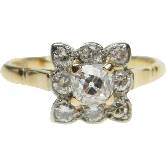 Antique Square Cushion Cut Diamond Ring