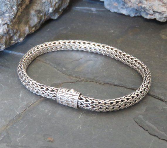 John Hardy sterling silver chain bracelet, signed JH, foxtail chain, marked 925, vintage, men's or women's, 25.5 grams