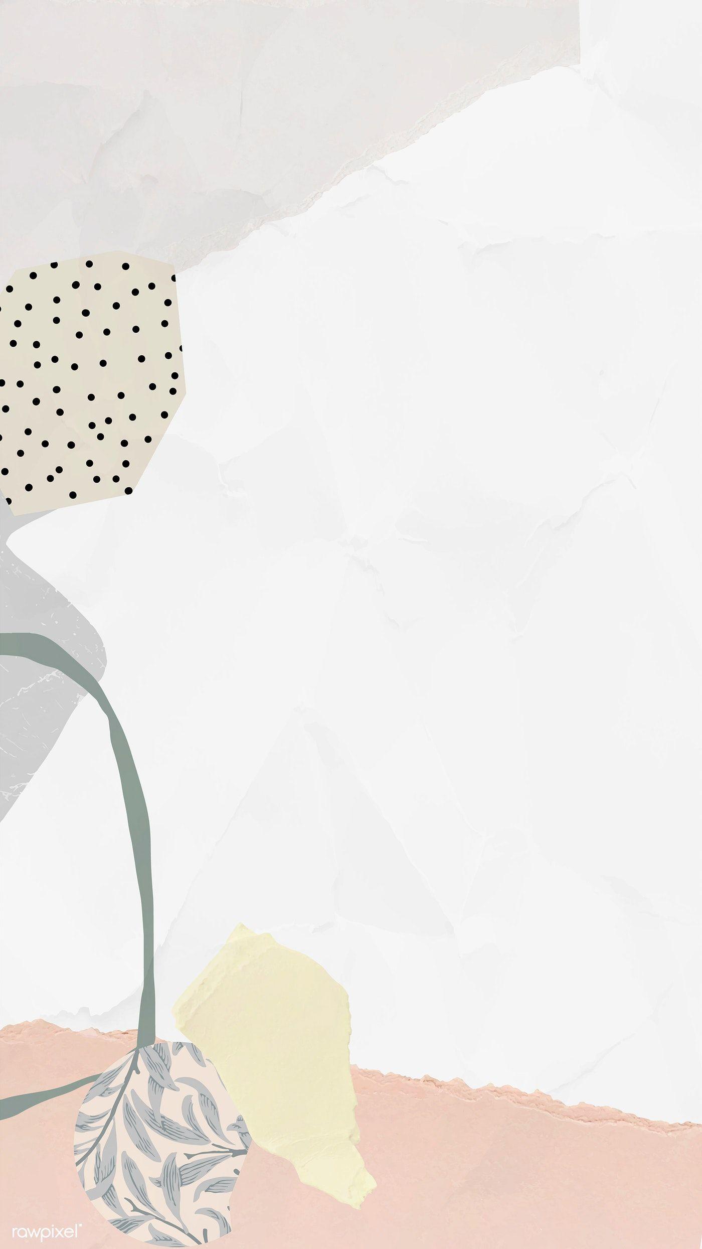 Download premium vector of White frame mobile phone wallpaper vector