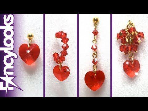 525a27fbd72e (1) DIY Cuatro modelos Pendientes de corazón de cristales Swarovski -  YouTube