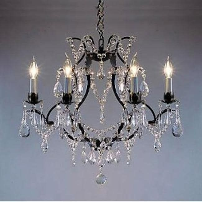 Wrought iron crystal chandelier lighting h19 x w20 swag plug in wrought iron crystal chandelier lighting h19 x w20 swag plug in chandelier black aloadofball Image collections