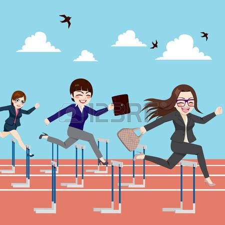 Small group of businesswomen competition concept jumping hurdles on business competitive career photo