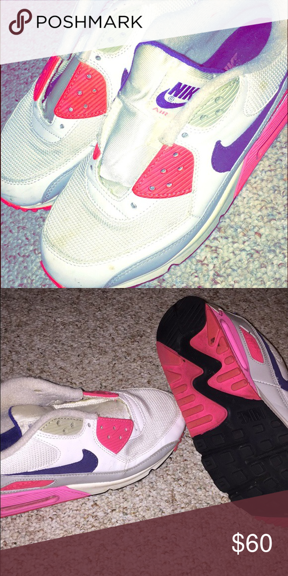 Nike air max 😎💜💗 Adorable white , pink and purple Nike air max! Only worn a few times!! ***i have the laces I just used them for another pair of sneakers the other day but I can put them back on! 😊 Nike Shoes Sneakers