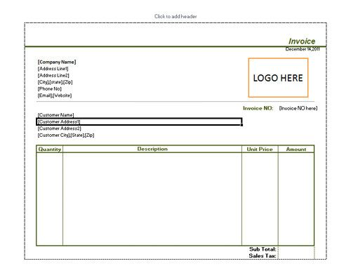 Purchase Invoice Template Basic Purchase Invoice With Space For