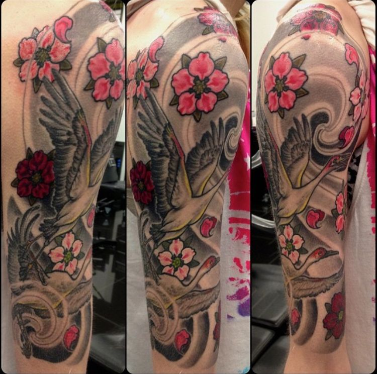 Japanese Traditional Half Sleeve Tattoo With Cranes And Cherry Blossoms By Jacob Park At Dark Age Tattoo Studio In Denton Tattoos Tattoo Studio Winter Tattoo