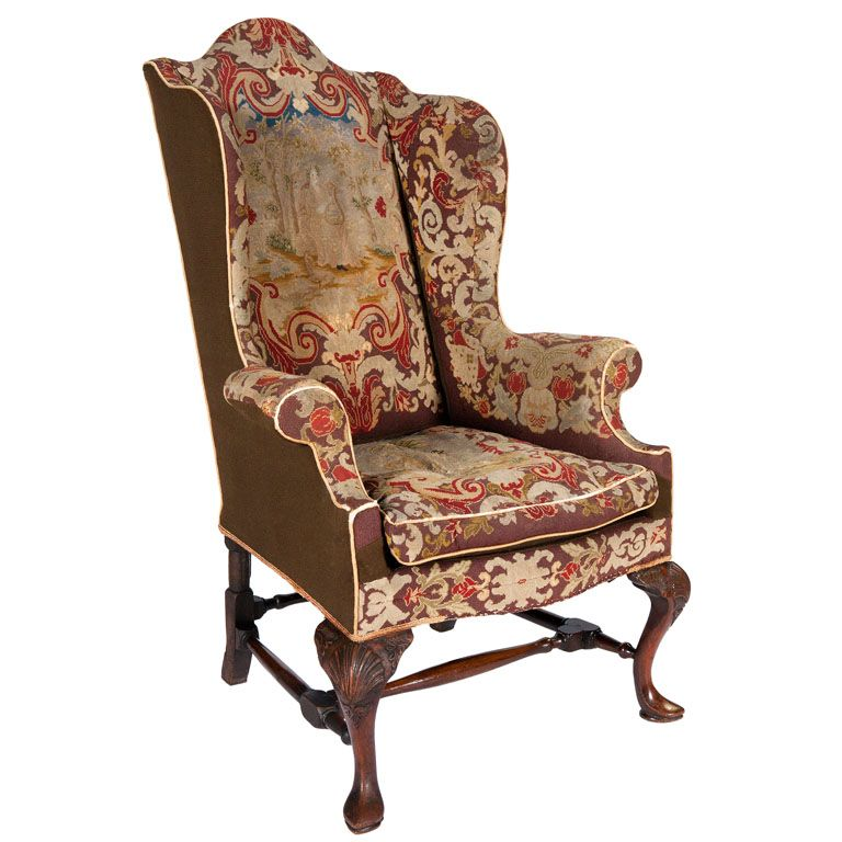18th Century Queen Anne Walnut Wing Chair With Tapestry Covering - 18th Century Queen Anne Walnut Wing Chair With Tapestry Covering