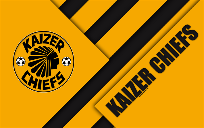 Download Wallpapers Kaizer Chiefs FC 4k South African Football Club Logo Orange Black Abstraction Material Design Johannesburg Africa