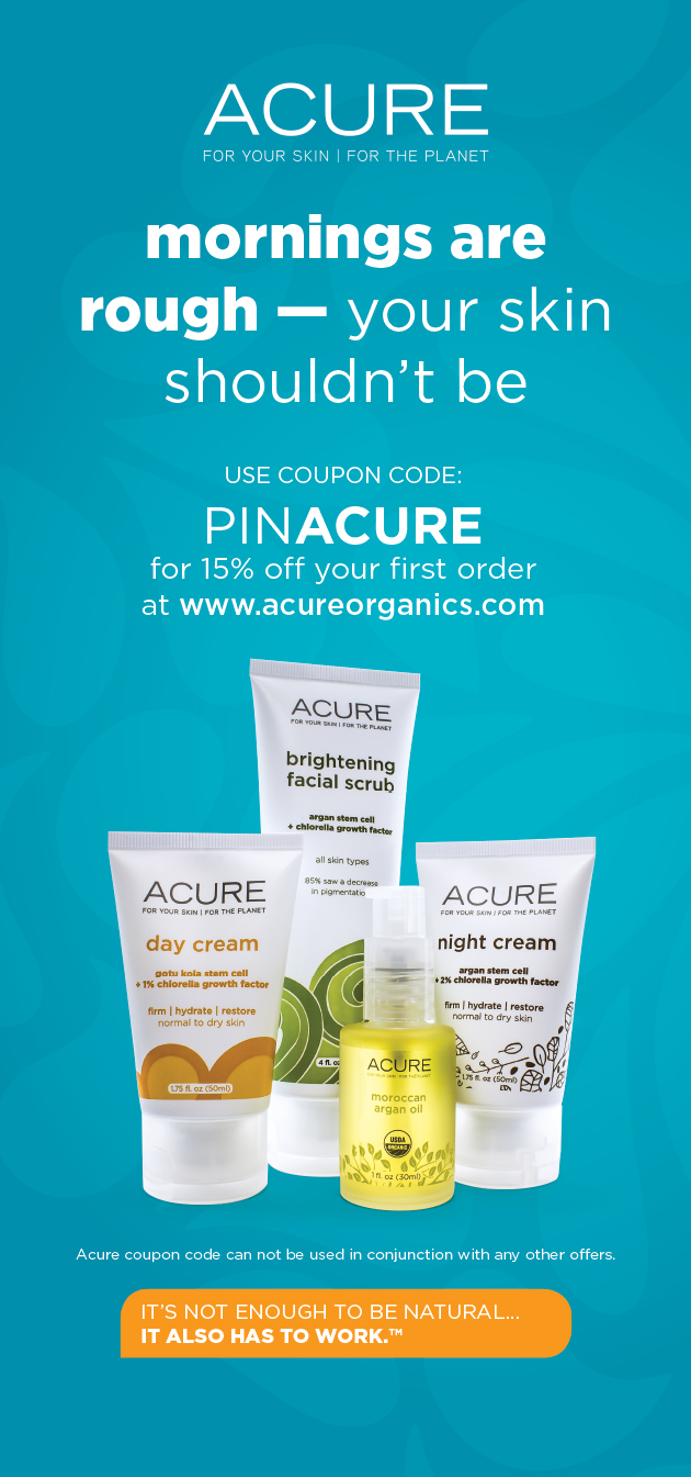 Enter PINACURE for 15% off any one-time ACURE purchase. Plus, ground shipping from our website is always FREE!
