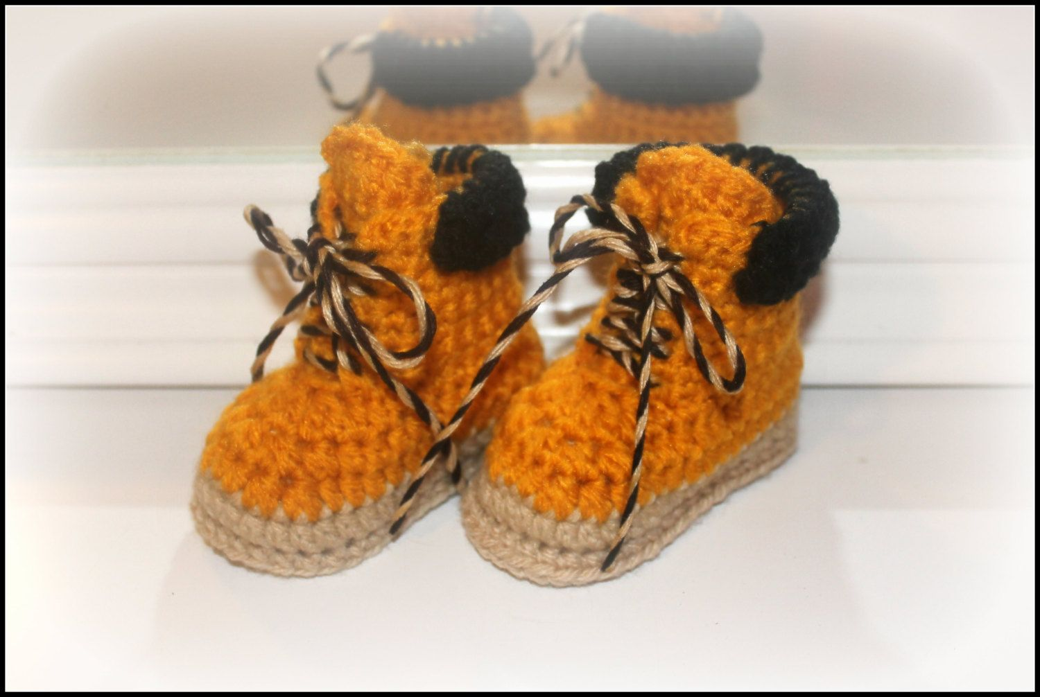 Crochet baby work boots construction worker by
