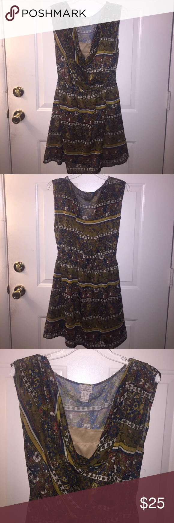 Vintage Patterned Juniper Chiffon Belted Dress EUC• Minor wear•Draped neckline• Elegant design• Beige lining• Sheer• Gathered waist•Small tear on side• Ruching on shoulders• Can be belted• Pair w/ flats for a simple chic look•                                                            🛍Bundle for 10% discount 🛍 🚭Smoke free• Pet free 🐱🐶 🔹Top Rated Seller• Quick Shipping🔹 🙅🏽🚫NO TRADES 🚫🙅🏽 Eyelash Couture Dresses Mini