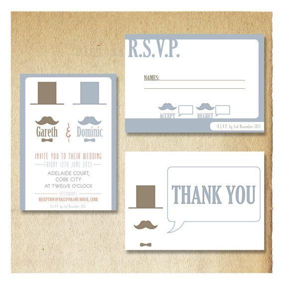 Moustache Wedding Invitations // Top Hat by DoodleMooseDesigns