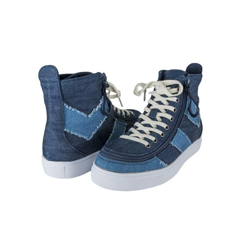 Zip Quickly Into Your Shoes In Style Fast Fun Easy Empowering Billy Goes Universal Combining Fashion With Function And Ad High Tops Blue Denim Denim Shoes