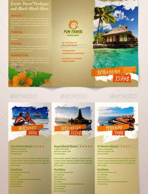 Brosur Tour Dan Travel  Fun Travel TriFold Brochure  Brochure