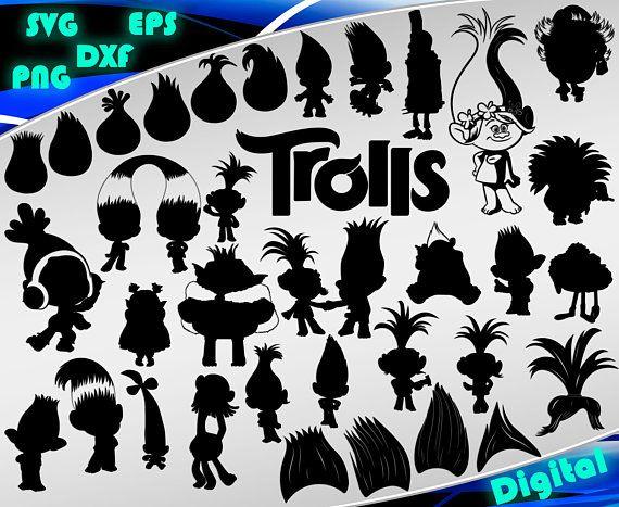 Trolls svg Trolls printable svg Trolls silhouette stencil file
