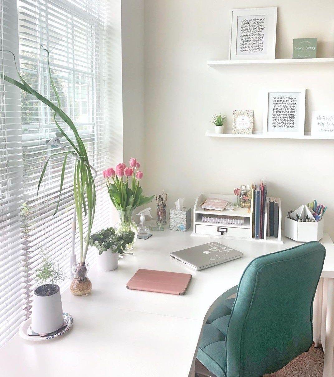 The Best Work Space Ideas Corner Desks Ikea Hacks Green Office Chair Blogging Space Work From In 2020 Ikea Home Office Pink Home Offices Home Office Design