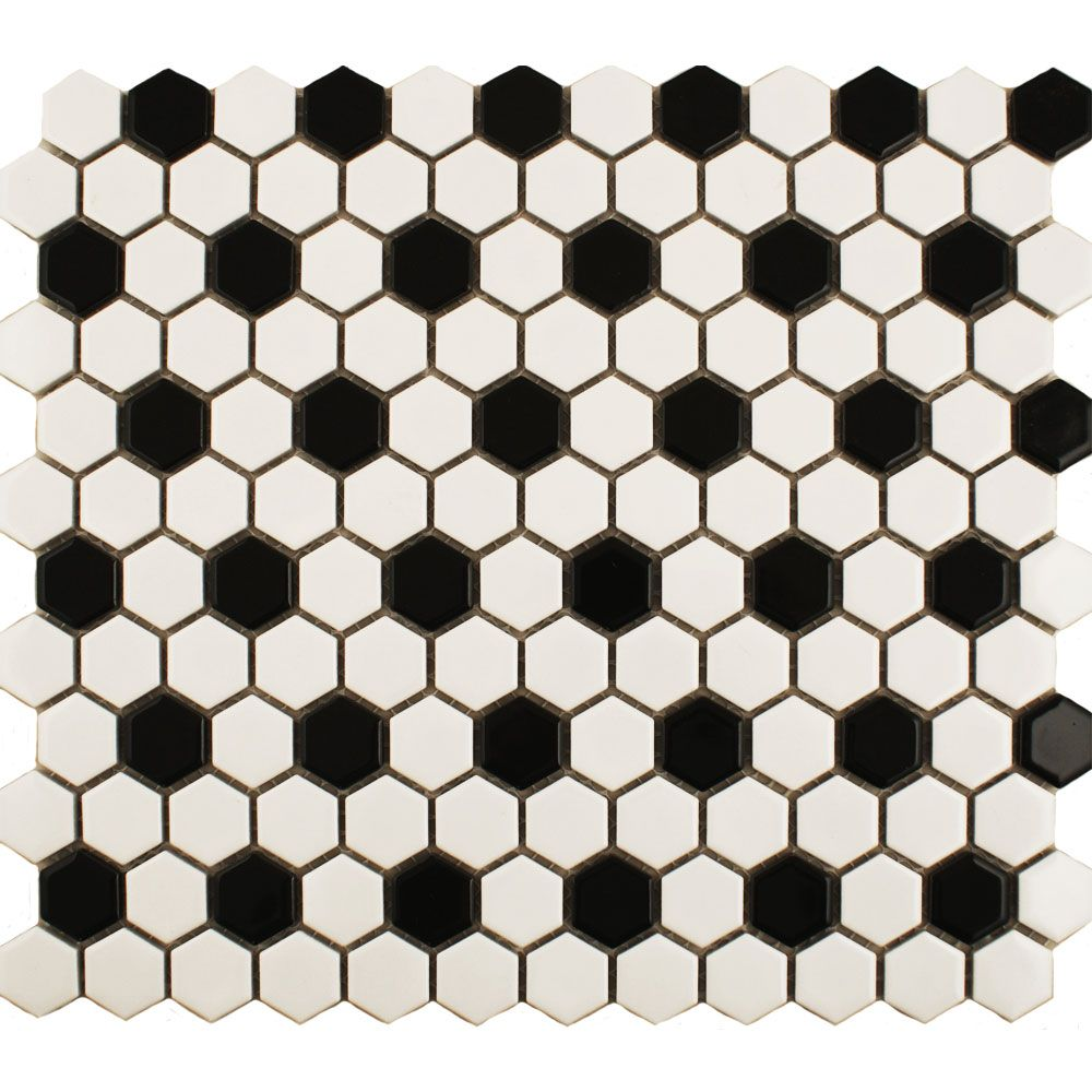 Black White Hexagon Tile Bathroom floor with Delorean grout