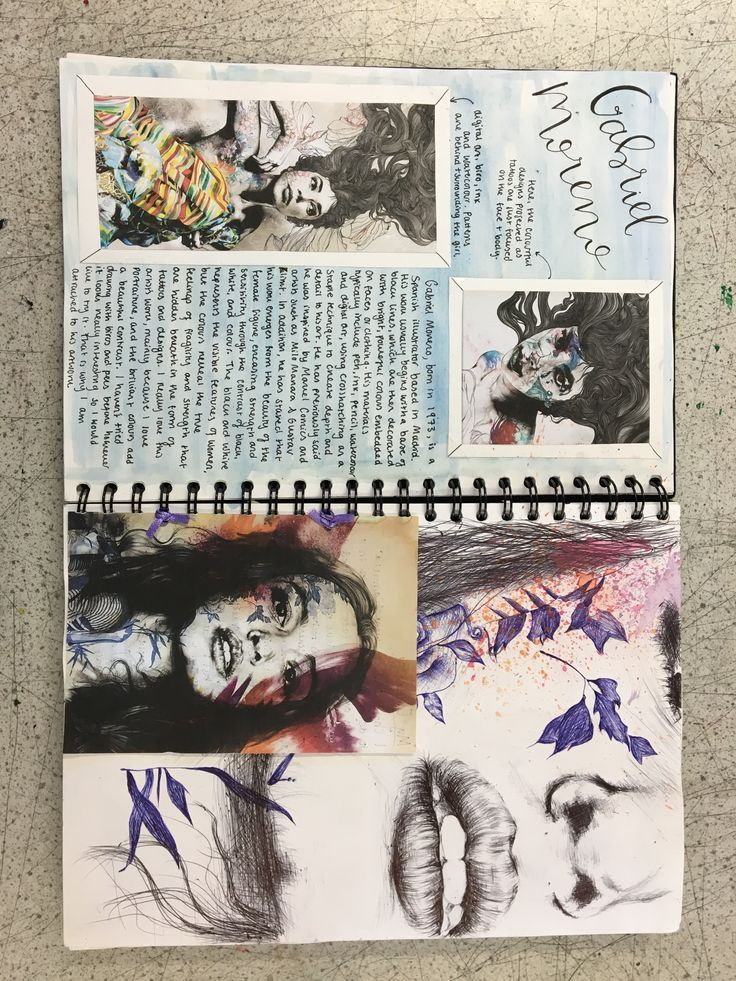 GCSE Art Sketchbook Art Artist Research Seite über Gabriel Moreno - Livvy Coombs #drawingprompts
