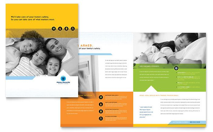 Home Security Systems Brochure Design Template by StockLayouts - sample college brochure