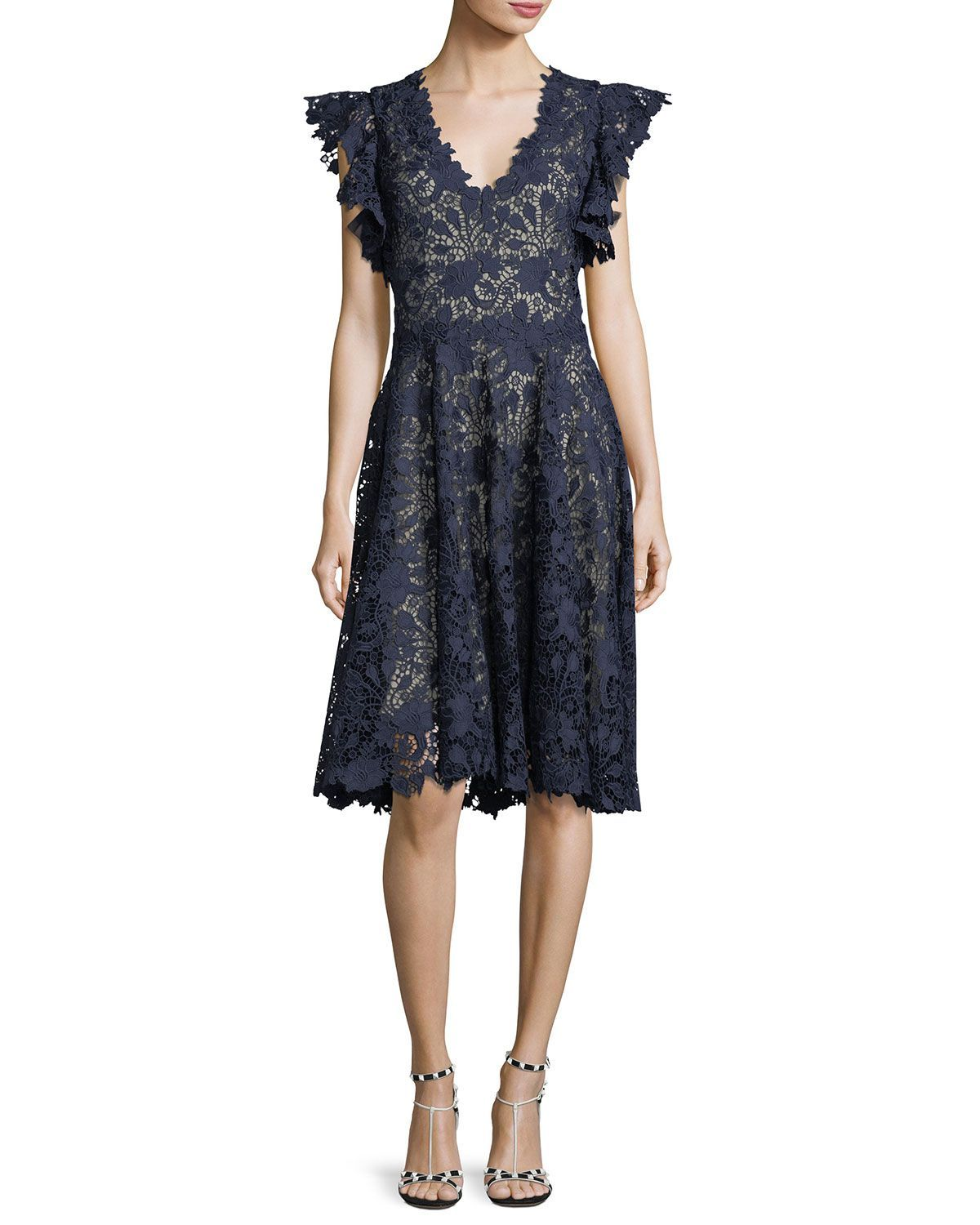 Ruffle-Sleeve Lace Cocktail Dress   Lace cocktail dresses, Ruffle ...