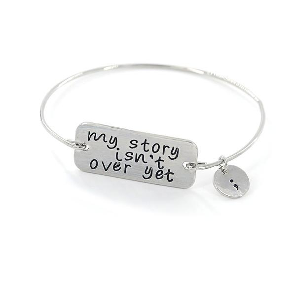 Semicolon Charm Heart Stainless Steel Pendant MY STORY ISNT OVER Charm B