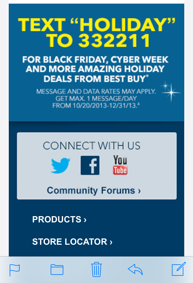 Best Buy Responsive Email Sent 10 18 13 Best Buy Is Getting Started Early On Growing Their Holiday Mo Cool Things To Buy Responsive Email How To Apply