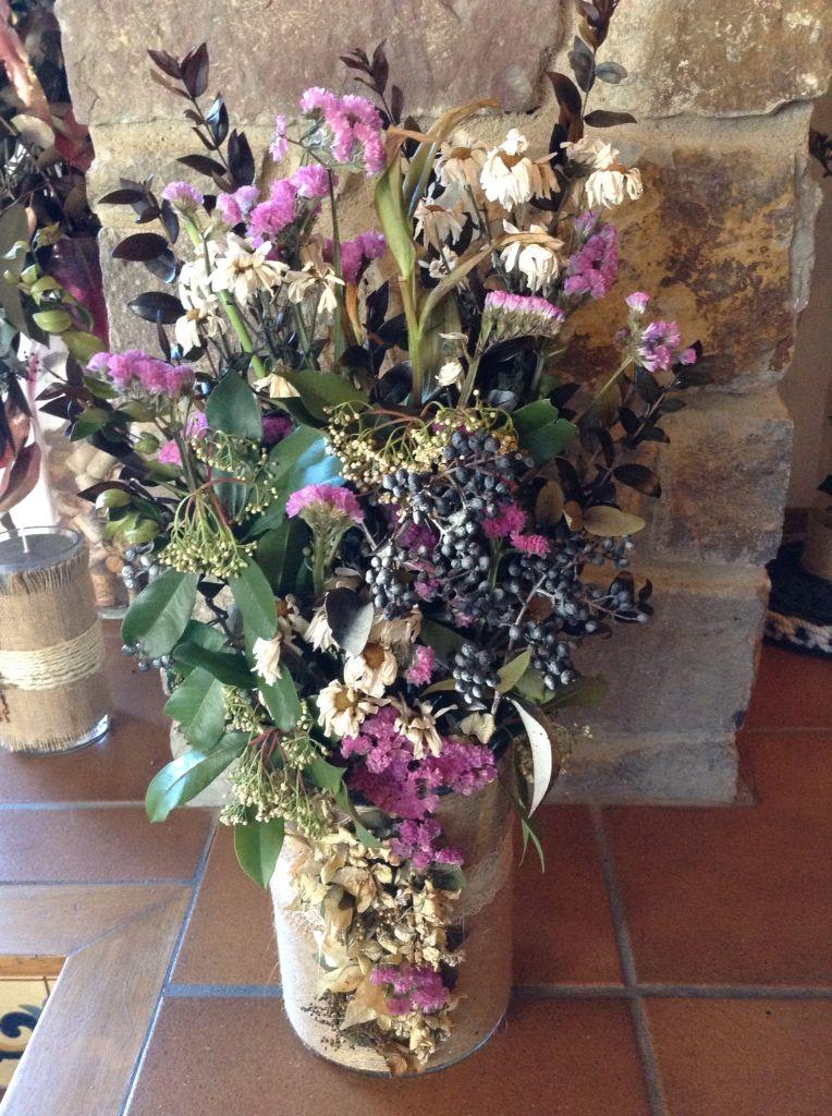 Centro con flores secas Centro Mesas Pinterest - flores secas