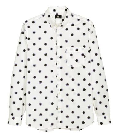 Long-sleeved shirt in cotton poplin with a printed pattern. Button ...
