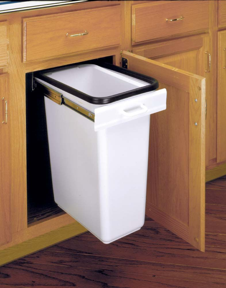 Narrow Slide Out Trash Can | Top mount slide out rails and pull ...