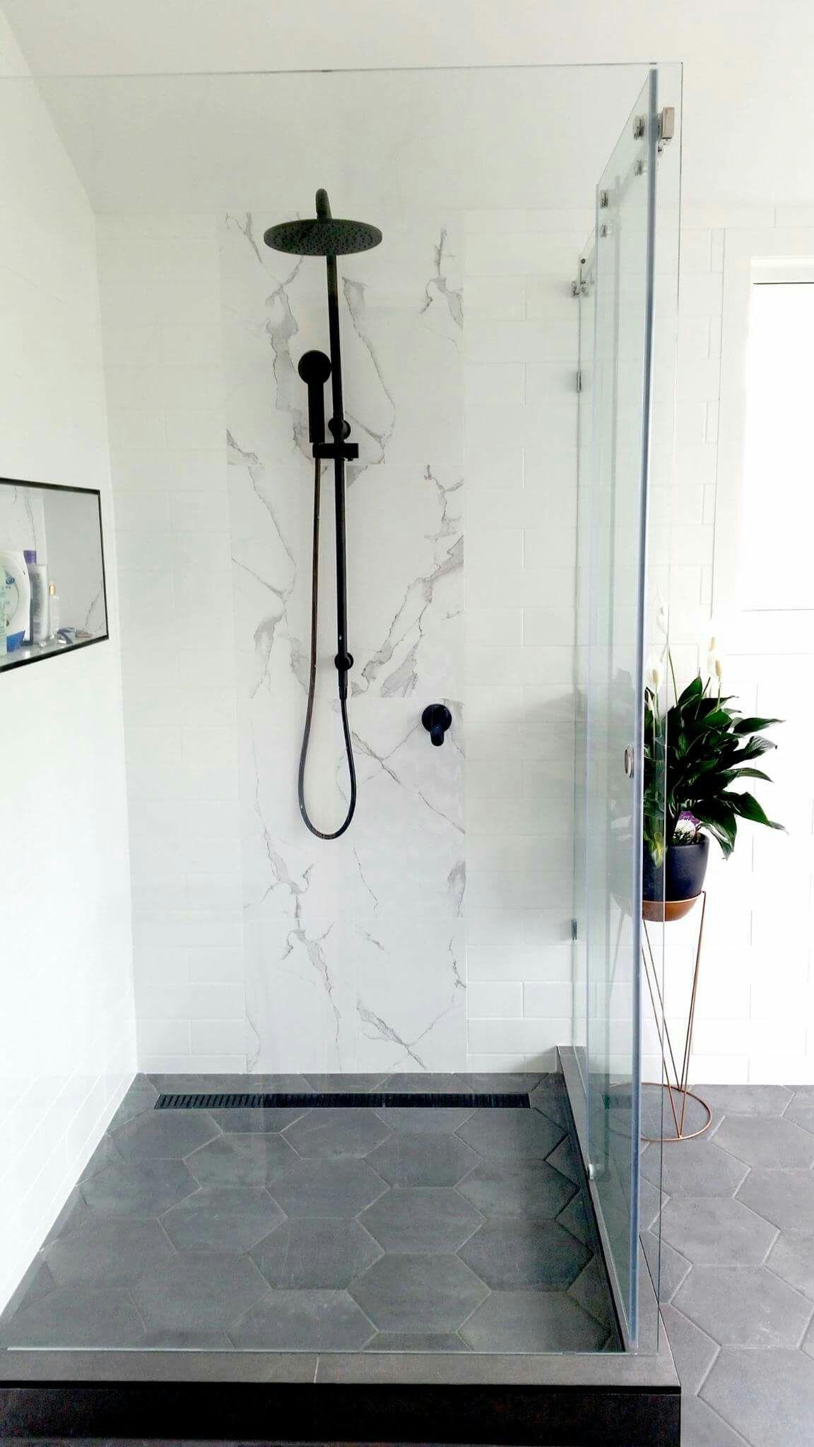 White Marble Subway Tiles Matte Black Our Ensuite Renovations Black Bathroom Floor Black Marble Bathroom White Marble Bathrooms