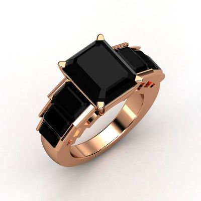 Emerald Cut Black yx 14K Rose Gold Ring with Black yx