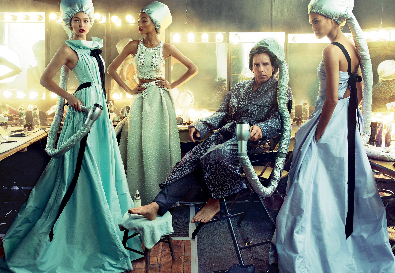 Model Behavior - On Gigi Hadid, far left: Oscar de la Renta dress. On Jourdan Dunn, center: Carolina Herrera top and skirt. On Joan Smalls, far right: Oscar de la Renta dress. Stiller wears Tom Ford.