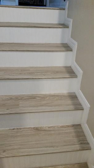 Pin By Laurie Perry On New Diy Staircase Makover In 2020 Stair Renovation Vinyl Stair Nosing Diy Stairs