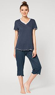 Pijama en azul / blanco