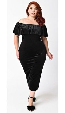 Plus Size 1940s Style Black Velvet Off Shoulder Draped Wiggle Dress