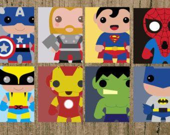 Avengers Superhero Nursery Prints Set Of 8 8x10 Wall Decor