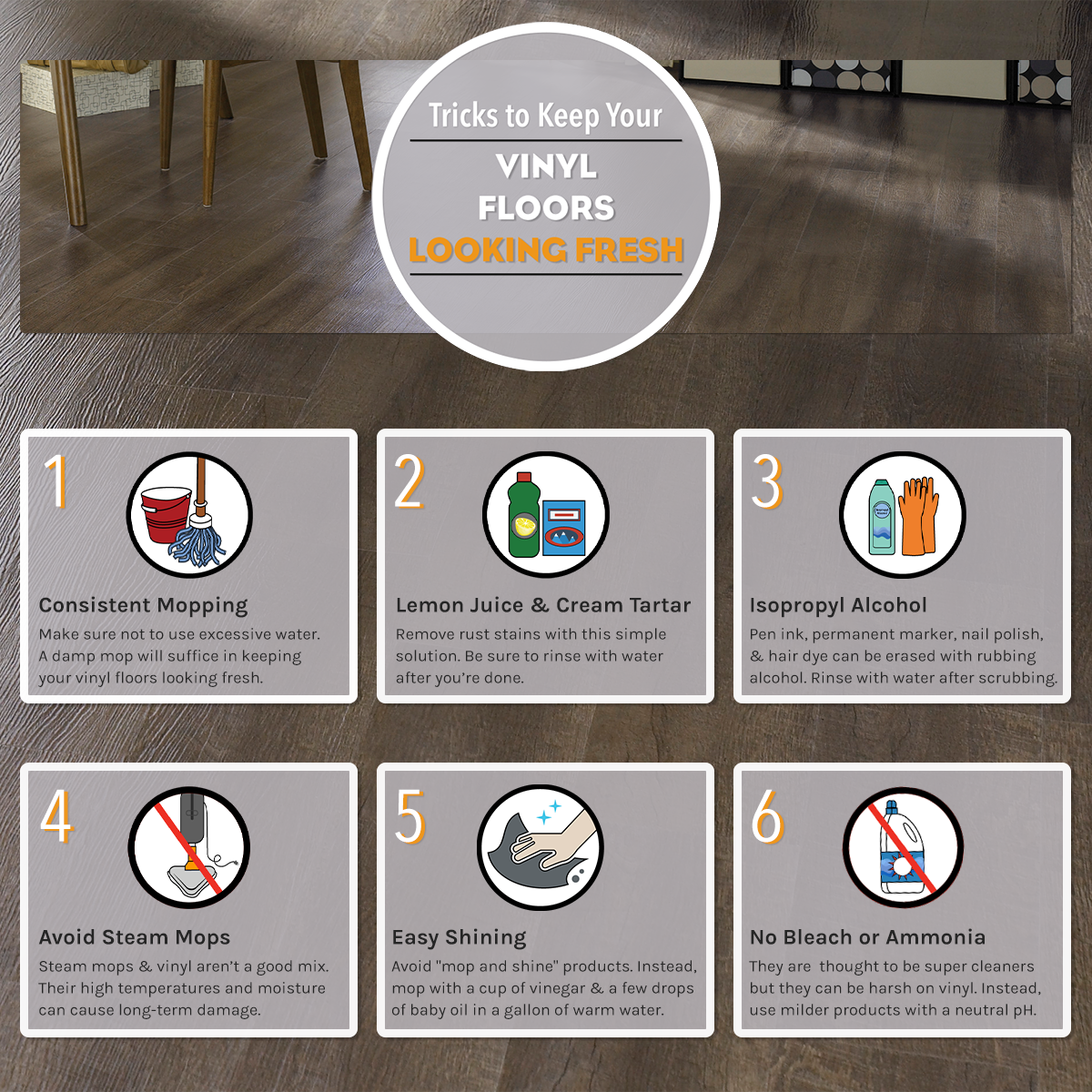 Clean Your Vinyl Floors The Easy Way With These Quick Tricks From Empire Today Vinyl Flooring Carpet Installation Flooring