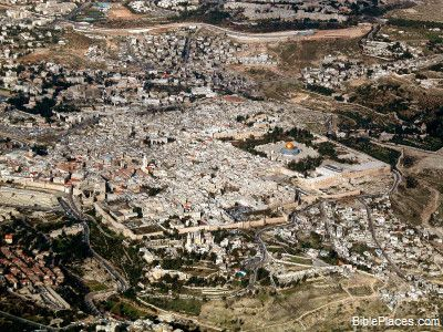 Bible Encyclopedia: Jerusalem Old City aerial from sw