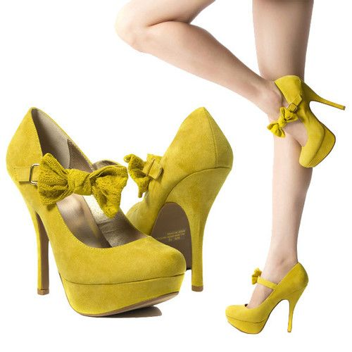 Qupid Womens Lemon Yellow Bowtie Mary Jane High Heel Stiletto Pump ...