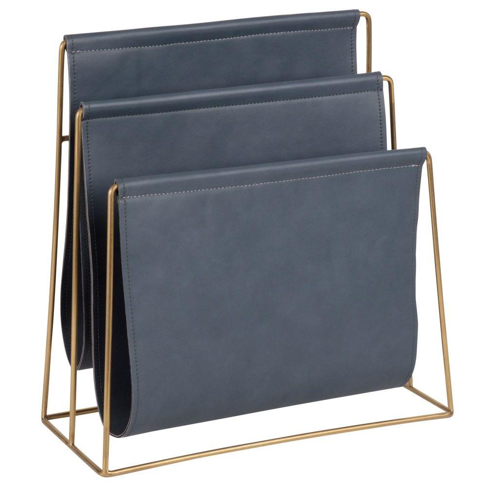 Zeitschriftenständer, Blaugrau Und Goldfarbenes Metall