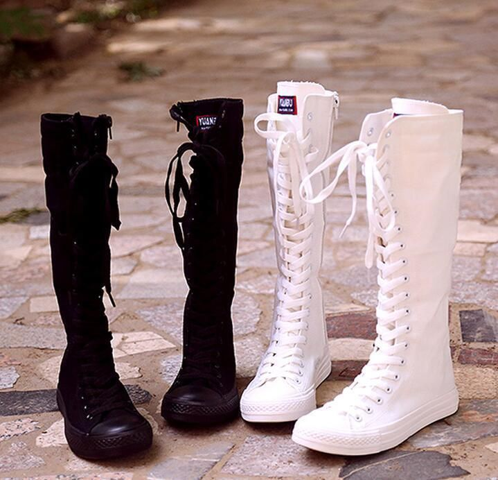 Womens Canvas Lace Up Causal Fashion New Hot Flat Knee High Sneakers Shoes Boots