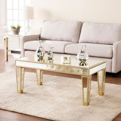 Winton Mirrored Cocktail Table Gold Coffee Table Mirrored Coffee Tables Glam Coffee Table