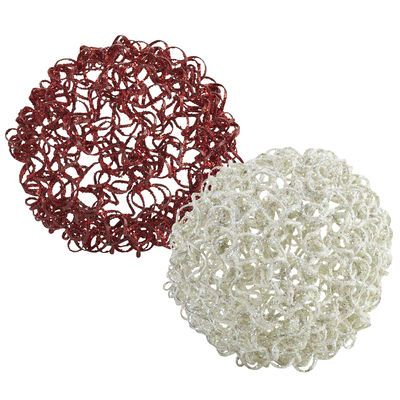Red & White Crazy Wire Spheres$1.50