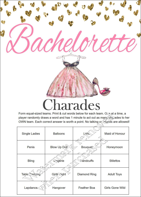 Bachelorette Party Charades - Bachelorette Charades - Bachelorette ...