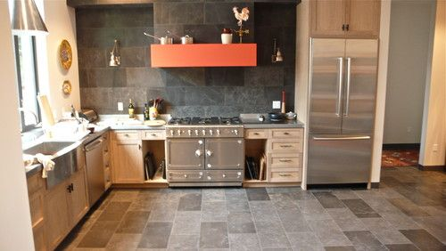 Kitchen Tiles Same On Floor And Wall Backsplash 12x24 Tile Kitchen Flooring Contemporary Kitchen Contemporary Bathrooms