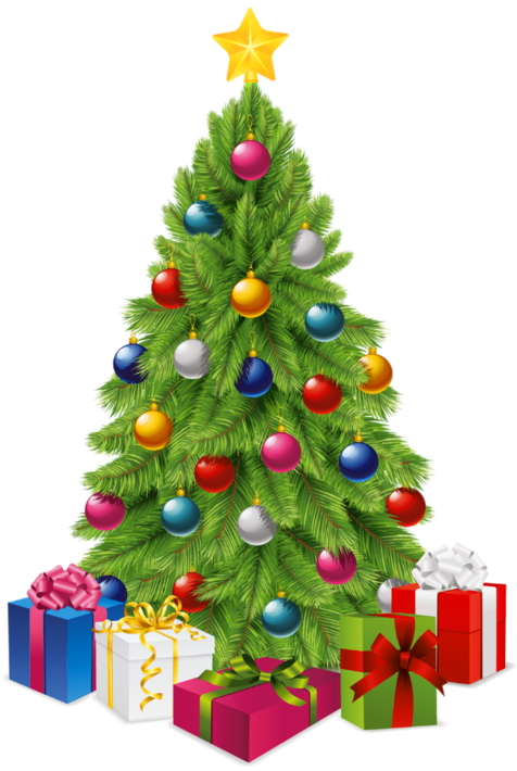 picture of christmas tree with presents