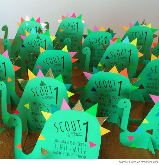 bondville: cutest dinosaur birthday party invites from peaches +, Birthday invitations